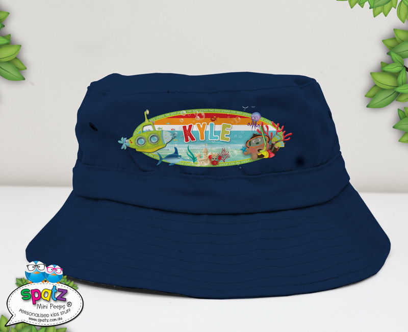 kids bucket hat, toddler hat, personalised toddler hat, kids hat, kids beach hat, adjustable hat kids, kids pull cord hat, cancer council hat, good beach hat for kids, kids sun hat, hat with name, custom child hat