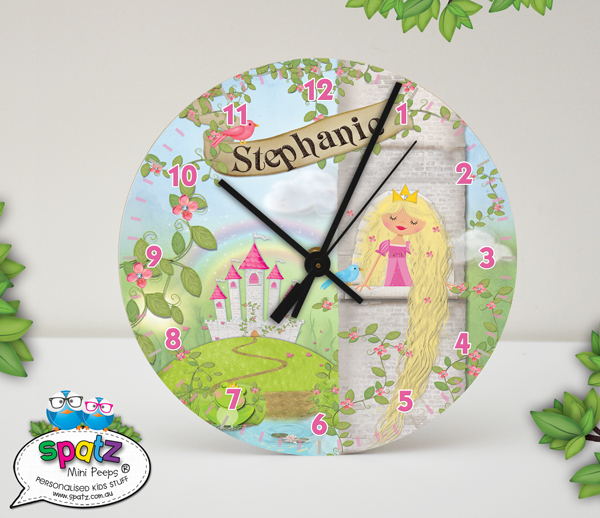 Personalised Kids Wall Clock Rapunzel Fairytale Design With Name