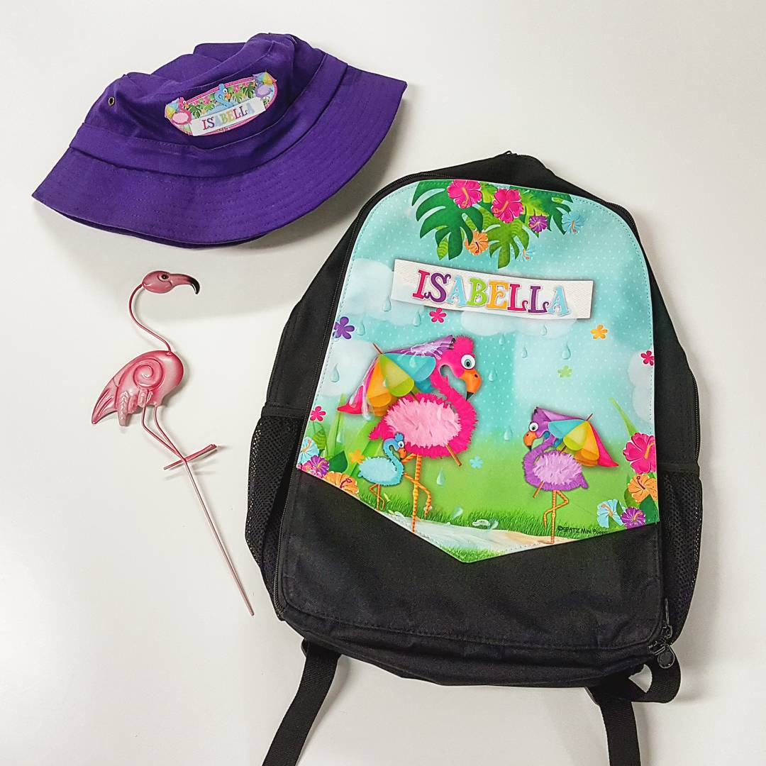 Flamingo Kids Custom Backpack Bag Personalised Name