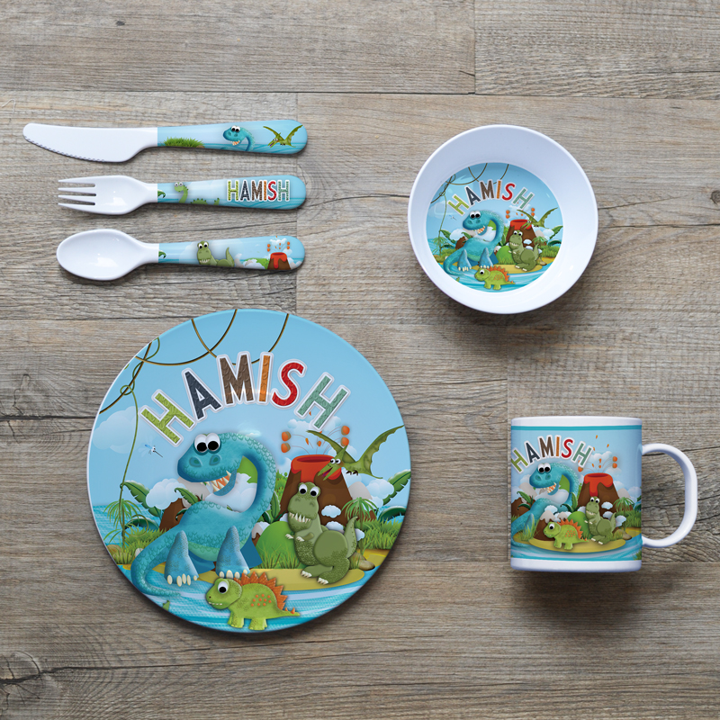 Kids Dinner Set Plate Mug Bowl Fork Spoon Dinosaur Melamine