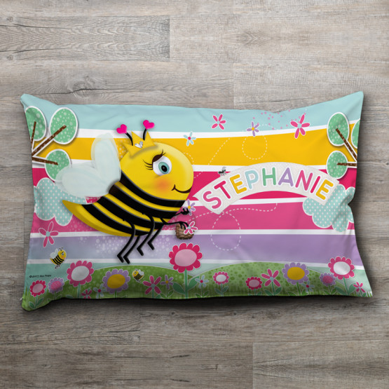 Flower Bee Theme Custom Pillow Pillowcase Name Personalised