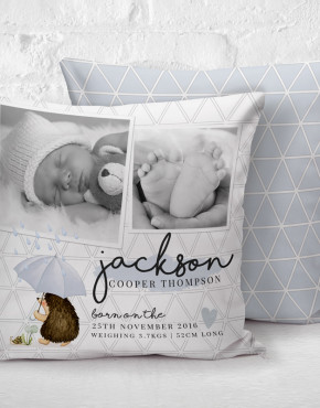 baby photo cushion birth details custom name personalised personalized