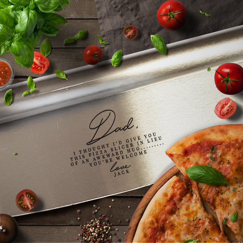 Personalised Steel Pizza Slicers A Great Fathers Day Gift