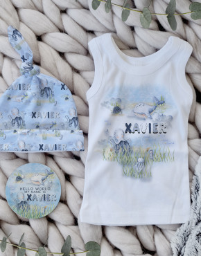 Personalised Baby Beanie & Singlet Gift Sets